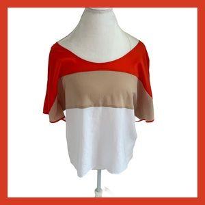 BEBE Red White Color-block Tunic Top medium